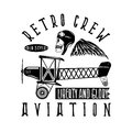 Retro aviation vector design skull,airplane and wings