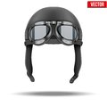 Retro aviator pilot helmet with goggles leather vintage object vector illustration on white Royalty Free Stock Photo