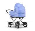 Retro baby stroller isolated on white background. 3d rendering