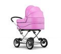 Retro baby stroller  on white background. 3d render imag Royalty Free Stock Photo