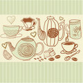 Retro background with cups and teapots in vector Royalty Free Stock Photos