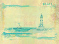 Retro background with lighthouse illustration Royalty Free Stock Photography
