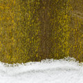 Retro background of an old wooden fence with green moss and snow Royalty Free Stock Photos