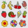 Retro badge patches, fun vector trendy stickers
