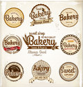 Retro bakery badges and labels vintage illustration Royalty Free Stock Photo