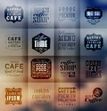 Retro bakery labels and typography blur shadows background coffee shop cafe menu design elements calligraphic Royalty Free Stock Images