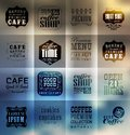 Retro bakery labels and typography blur shadows background coffee shop cafe menu design elements calligraphic Stock Photos