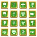 Retro balloons aircraft icons set green