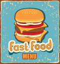 Retro banner with cheeseburger Stock Photos