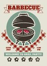 Retro barbecue party restaurant invitation template. BBQ cookout vector poster with classic charcoal grill
