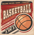 Retro basketball poster design vintage sport flyer concept Stock Photo
