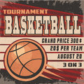 Retro basketball tournament poster with vintage look with grunge overlay Stock Photography
