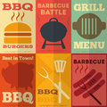 Retro bbq posters collection barbecue in flat design style illustration Royalty Free Stock Photos