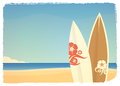 Retro beach scene with surfboards Royalty Free Stock Photo