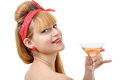 Retro beautiful pin up girl drink a glass of rose wine Royalty Free Stock Photo