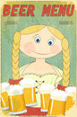 Retro Beer Menu - blond girl with beer Royalty Free Stock Photo