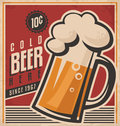Retro beer vector poster vintage template for cold label or banner design old paper texture food and Royalty Free Stock Images