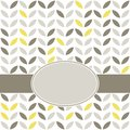 Retro beige yellow leaves on white with frame Royalty Free Stock Photo