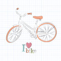 Retro bicycle vector illustration of drawing Stock Photo