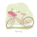 Retro bicycle vector illustration of pink with basket of flowers Royalty Free Stock Image