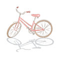 Retro bicycle vector illustration of pink isolated on white background vector Royalty Free Stock Photos