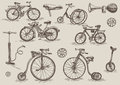 Retro bicycles hand drawn vector set Stock Photography