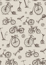Retro bicycles seamless vector pattern Stock Photos