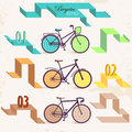 Retro bicycles set of colored with numbers vector Stock Photography