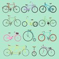 Retro bike vintage vector old-fashioned girls and hipster transport ride vehicle bicycles summer transportation for