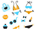 Retro bikini icons isolated on white Royalty Free Stock Images