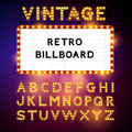 Retro billboard vector waiting for your message also includes glamorous alphabet illustration Stock Image