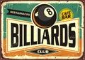 Retro billiards sign design Royalty Free Stock Photo