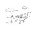 Retro biplane plane vector illusration. Line-art vintage airplane