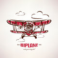 Retro biplane, vintage airplane vector symbol Royalty Free Stock Photo