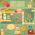 Retro birthday card set of objects in vintage style illustration Stock Image