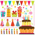 Retro birthday celebration elements a vector illustration of Royalty Free Stock Images