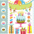 Retro Birthday Elements Set