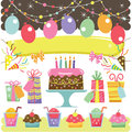 Retro Birthday Elements Royalty Free Stock Photo