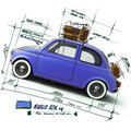 Retro blue car design Royalty Free Stock Images