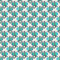 Retro Blue Floral Repeat Wallpaper Pattern Royalty Free Stock Photo