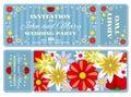Retro boarding pass ticket wedding invitation template Royalty Free Stock Photo