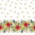 Retro Bold Colorful Tropical Exotic Foliage, Hibiscus Floral Horizontal Vector Seamless Border and Pattern.