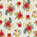 Retro Bold Colorful Tropical Exotic Foliage, Hibiscus Floral Vector Seamless Pattern. Blue and Cream Stripes Background.