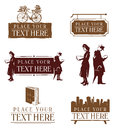 Retro bookstore icons Stock Photography