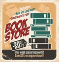 Retro bookstore poster design Stock Photography