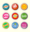 Retro bottle cap designs set all new Royalty Free Stock Photography