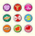 Retro bottle cap designs set all new Stock Photography