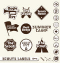 Retro Boy Scout Labels and Stickers Royalty Free Stock Photography
