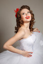 Retro bride pin up professional make up hair and style Stock Image
