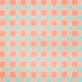 Retro brightly colored blue and pink plaid backgr textile fabric background with stitching Stock Photos